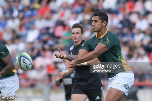 Lyle Hendricks of South Africa passes the ball during World Rugby Under 20 Championship 3rd Place Play 0ff between South Africa and New Zealand on...