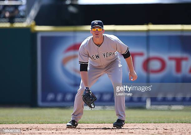 Lyle Overbay of the New York Yankees gets ready to field the ball during the game against the Detroit Tigers at Comerica Park on April 5 2013 in...