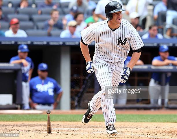 Lyle Overbay of the New York Yankees hits in the fifth inning against the Kansas City Royals on July112013 at Yankee Stadium in the Bronx borough of...