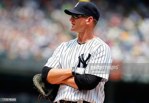 Lyle Overbay of the New York Yankees in action against the Texas Rangers at Yankee Stadium on June 27 2013 in the Bronx borough of New York City The...
