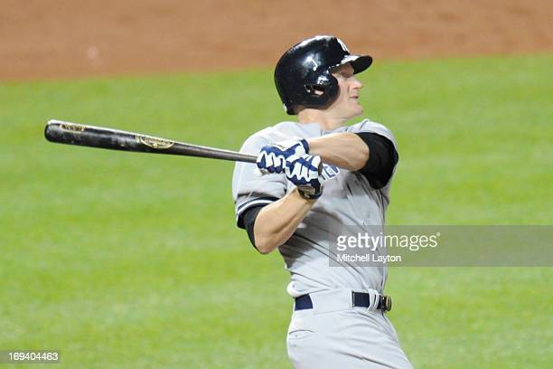 Lyle Overbay of the New York Yankees takes a swing during a baseball game against the Baltimore Orioles on May 20 2013 at Oriole Park at Camden Yards...
