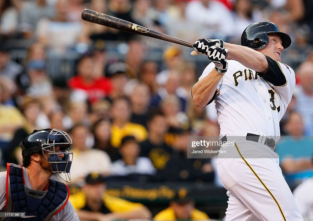 Lyle Overbay #37 of the Pittsburgh Pirates hits a three run home run in the fourth inning against the Boston Red Sox during the game on June 25, 2011 at PNC Park in Pittsburgh, Pennsylvania.