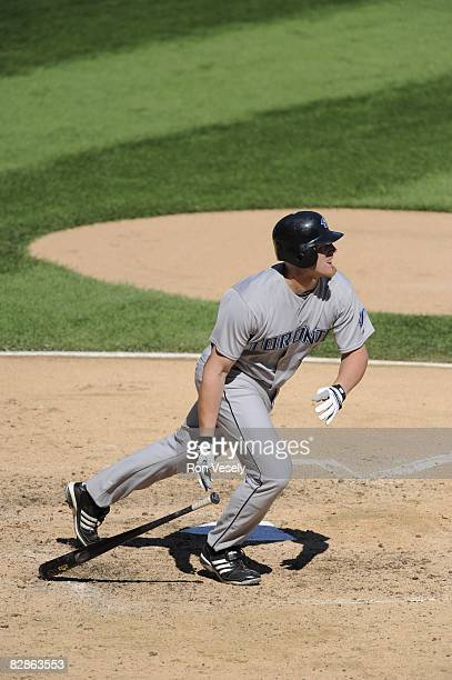 Lyle Overbay of the Toronto Blue Jays bats during the game against the Chicago White Sox at US Cellular Field in Chicago Illinois on September 09...