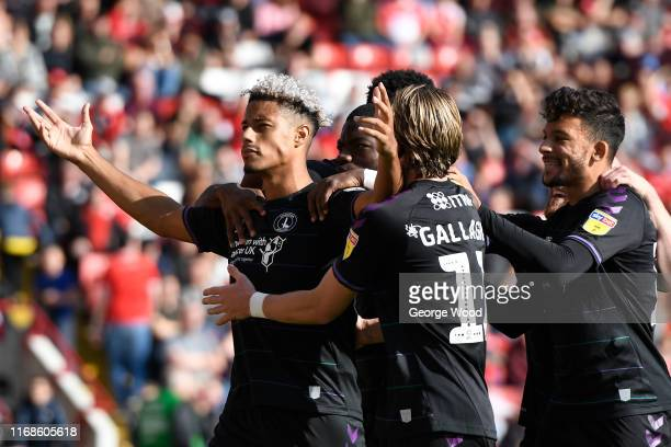 Lyle Taylor of Charlton Athletic celebrates scoring his teams second goal of the match during the Sky Bet Championship match between Barnsley and...