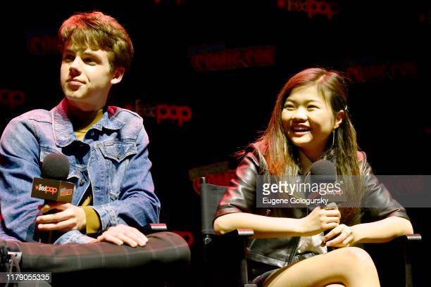 Lyliana Wray, Sam Ashe Arnold, Miya Cechspeaks onstage during Nickelodeon's Are You Afraid of the Dark? panel at New York Comic Con 2019 - Day 2 at...