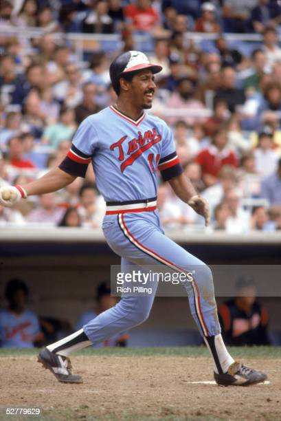Lyman Bostock of the Minnesota Twins swings at a pitch during a 1977 MLB season game against the New York Yankees at Yankee Stadium in the Bronx New...