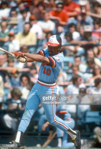 Lyman Boston of the Minnesota Twins bats against the Baltimore Orioles during a Major League Baseball game circa 1976 at Memorial Stadium in...