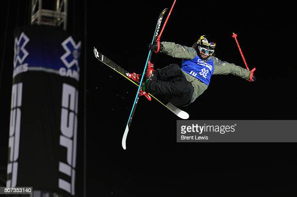 Lyman Currier goes for a grab on his first run during the finals of men's ski halfpipe at Winter X Games 2016 at Buttermilk Mountain on January 28...