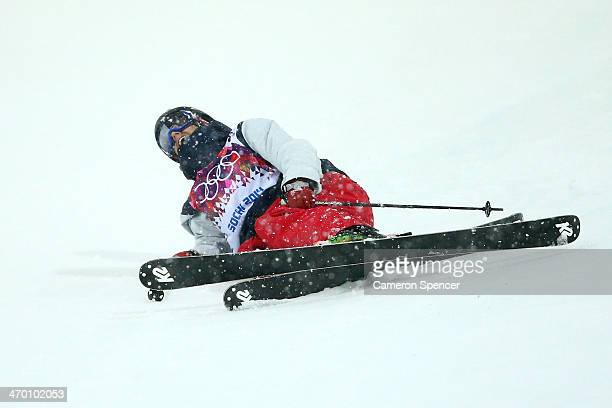 Lyman Currier of the United States crashes out in the Freestyle Skiing Men's Ski Halfpipe Qualification on day eleven of the 2014 2014 Winter...