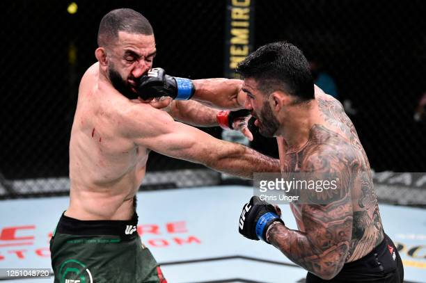 Lyman Good punches Belal Muhammad in their welterweight bout during the UFC Fight Night event at UFC APEX on June 20 2020 in Las Vegas Nevada