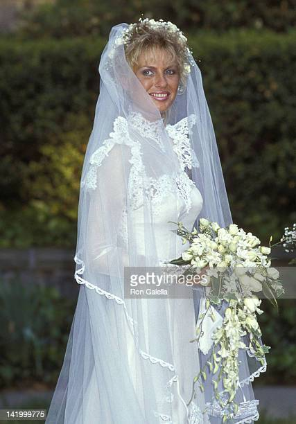Lyn Barron attends her wedding to Christopher Atkins on May 25 1985 at the Rye Presbyterian Church in Rye New York