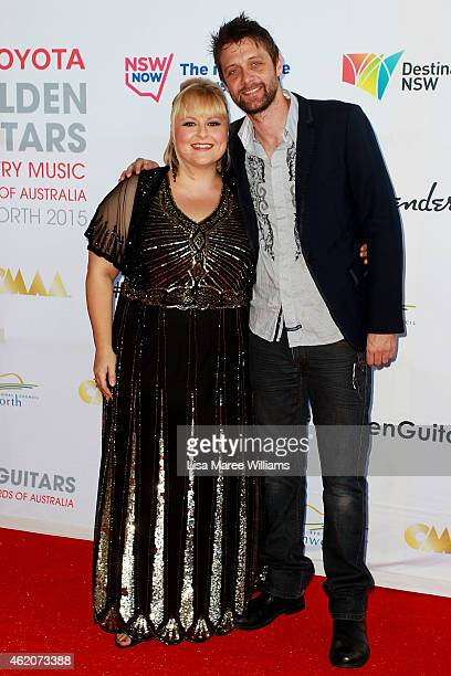 Lyn Bowtell and Shane Nicholson arrive at the 43rd Country Music Awards of Australia on January 24 2015 in Tamworth Australia