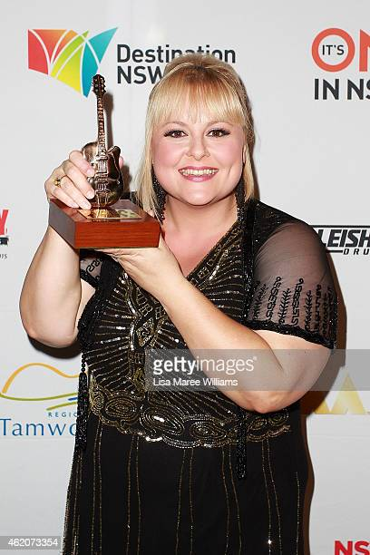 Lyn Bowtell poses after winning a Golden Guitar for 'Alternative Country Album of the Year' during the 43rd Country Music Awards of Australia on...