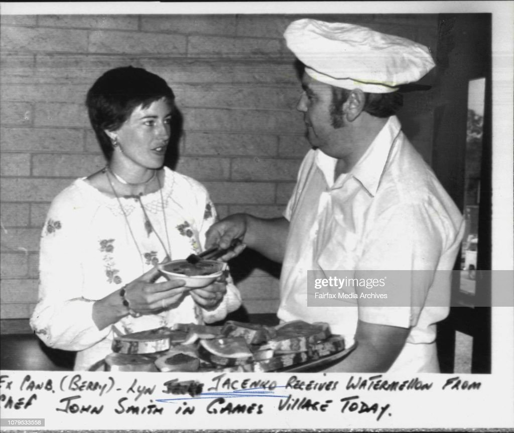 Lyn Jacenko Receives Watermelon From John Smith In Games News Photo Getty Images