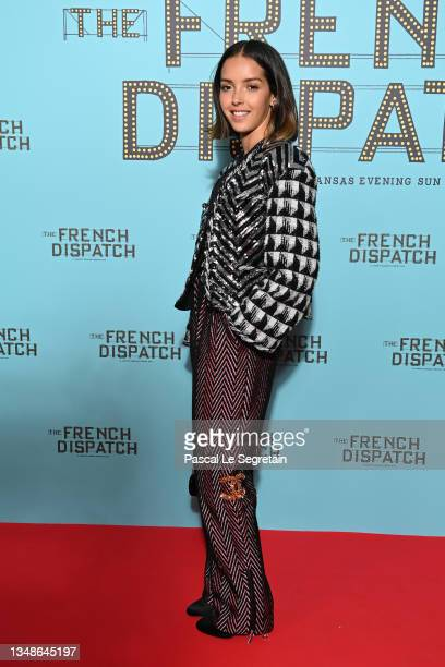 """Lyna Khoudri attends the """"The French Dispatch"""" - Paris Gala Screening at Cinema UGC Normandie on October 24, 2021 in Paris, France."""