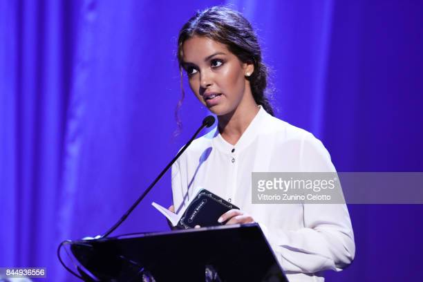 Lyna Khoudri receives the Orizzonti for Best Actress Award for 'Les Bienheureux' during the Award Ceremony of the 74th Venice Film Festival at Sala...