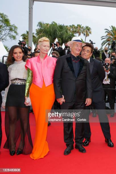 "Lyna Khoudri, Tilda Swinton, Bill Murray and Benicio Del Toro attend the ""The French Dispatch"" screening during the 74th annual Cannes Film Festival..."