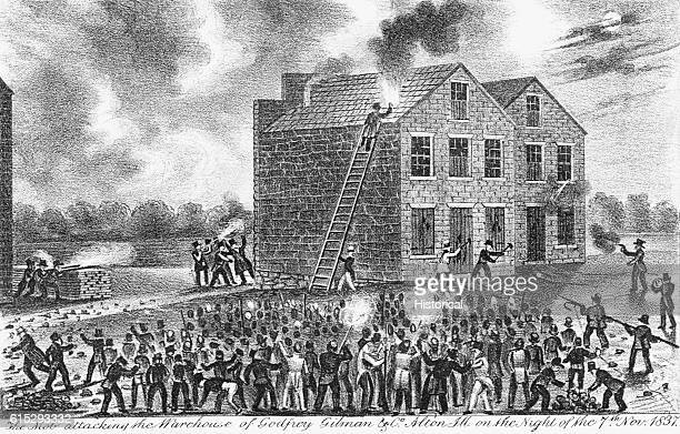 A lynch mob attacking the warehouse of Godfrey Gilman and Elijah Lovejoy in Alton Illinois on the night of November 7 1837