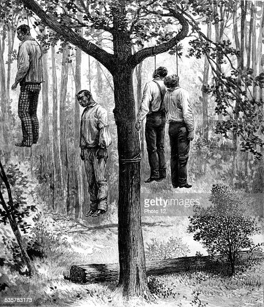 Lynching scene in the United States 4 blacks hung United States