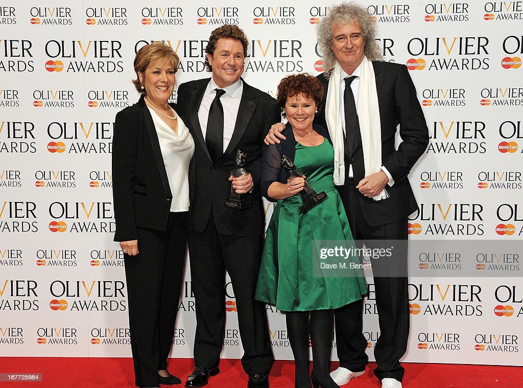Lynda Bellingham, Best Actor in a Musical Michael Ball, Best Actress in a Musical Imelda Staunton and Brian May pose in the press room at The Laurence Olivier Awards 2013 at The Royal Opera House on April 28, 2013 in London, England.