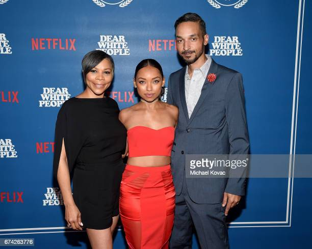 Lynda Browning actress Logan Browning and Kyle Browning attends the premiere of Netflix's Dear White People at Downtown Independent on April 27 2017...