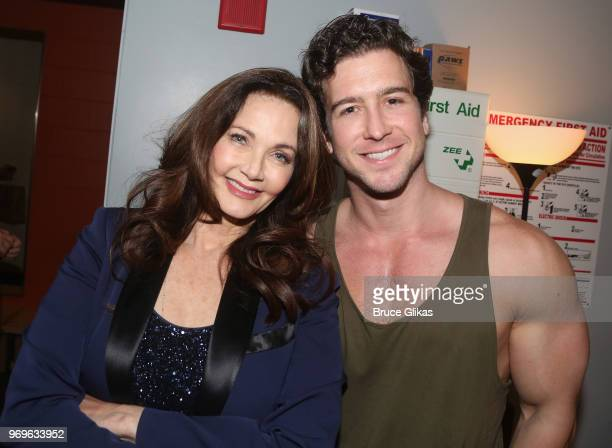 Lynda Carter and Evan Todd pose backstage at the hit musical 'Beautiful The Carole King Musical' on Broadway at The Stephen Sondheim Theatre on June...