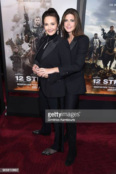 Lynda Carter and Jessica Altman attend the world premiere of '12 Strong' at Jazz at Lincoln Center on January 16 2018 in New York City