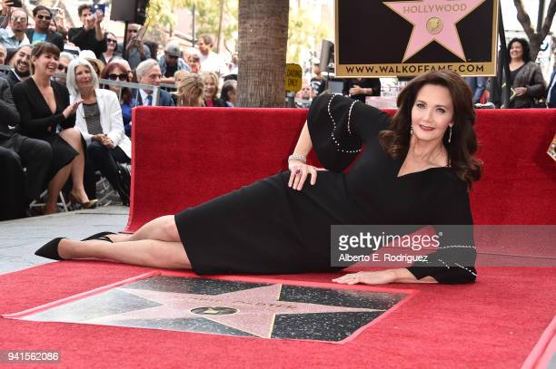 Lynda Carter attends a ceremony honoring her with the 2632nd star on the Hollywood Walk of Fame on April 3 2018 in Hollywood California