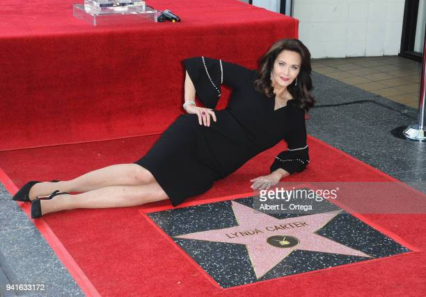Lynda Carter attends the ceremony honoring her with a Star on The Hollywood Walk of Fame held on April 3 2018 in Hollywood California