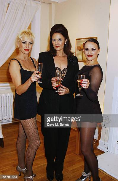 Lynda Carter best known as Wonder Woman poses with AmraFaye Wright and SallyAnn Triplett as she makes her West End debut as Mama Morton in the...