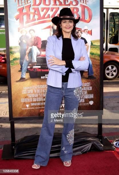 """Lynda Carter during """"The Dukes Of Hazzard"""" Los Angeles Premiere - Arrivals at Grauman's Chinese Theatre in Hollywood, California, United States."""