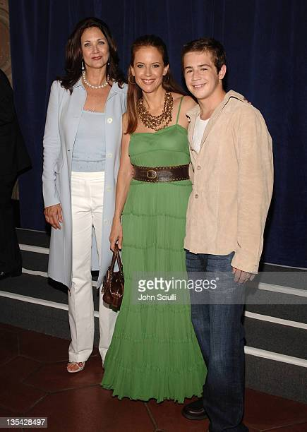 Lynda Carter Kelly Preston and Michael Angarano during 'Sky High' Los Angeles Premiere Red Carpet at El Capitan Theatre in Los Angeles California...