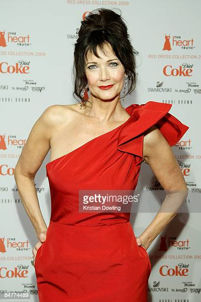 Lynda Carter poses backstage at the Heart Truth Red Dress Collection 2009 fashion show during MercedesBenz Fashion Week at The Tent in Bryant Park on...