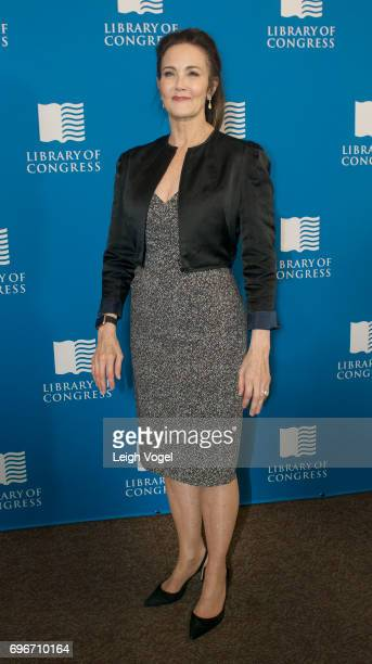 Lynda Carter poses for photos during the 'Library of Awesome' popup exhibit at The Library of Congress on June 16 2017 in Washington DC