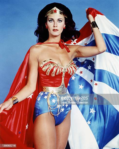 Lynda Carter, US actress, in costume in a studio portrait issued as publicity for the US television series, 'Wonder Woman', USA, circa 1977. The...