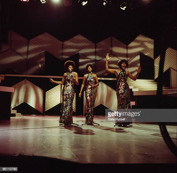 Lynda Laurence Mary Wilson and Jean Terrell of The Supremes perform on BBC tv show 'They Sold A Million' at BBC tv studios in 1973