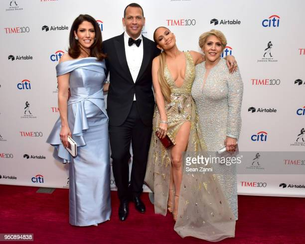 Lynda Lopez Alex Rodriguez Jennifer Lopez and Guadalupe Rodriguez attend the 2018 TIME 100 Gala at Jazz at Lincoln Center on April 24 2018 in New...