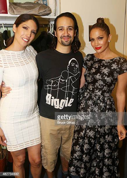 "Lynda Lopez, Composer/Lyricist/Star Lin-Manuel Miranda and Jennifer Lopez pose backstage at the hit new musical ""Hamilton"" on Broadway at The Richard..."