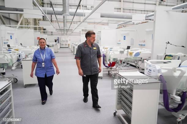 Lynda Pittilla Lead ICU Nurse at Nightingale North East and Gordon Elder Director of Nursing for Nightingale North East walk through ICU ward 1 at...