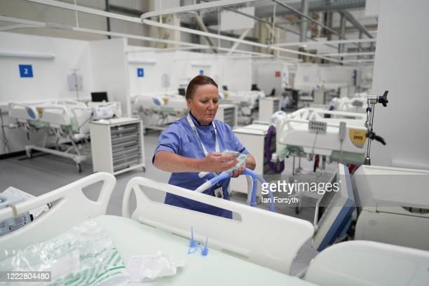 Lynda Pittilla Lead ICU Nurse at Nightingale North East prepares equipment for a ventilator in ICU ward 1 at the new NHS Nightingale North East...
