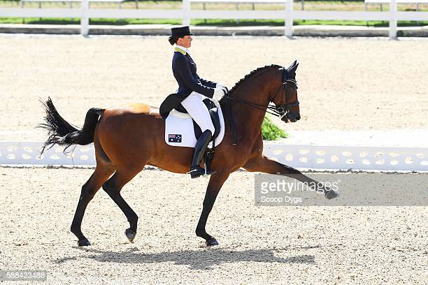Lyndal OATLEY rides SANDRO BOY 9 during the Dressage Individual and Team Grand Prix at Olympic Equestrian Centre on August 11, 2016 in Rio de...