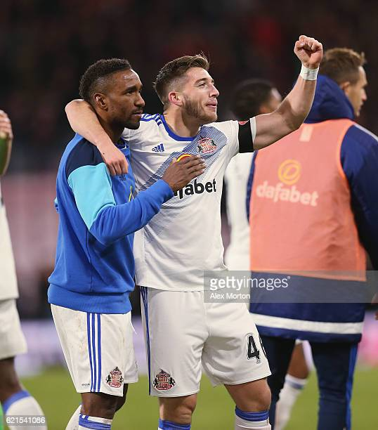 Lynden Gooch and Jermain Defoe celebrate at the end of the match during the Premier League match between AFC Bournemouth and Sunderland at Vitality...