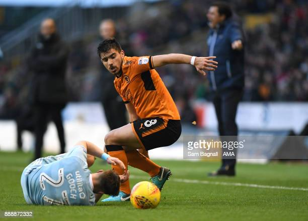 Lynden Gooch of Sunderland and Ruben Neves of Wolverhampton Wanderers during the Sky Bet Championship match between Wolverhampton and Sunderland at...