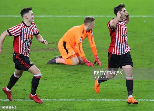 Lynden Gooch of Sunderland celebrates after he scores from the penalty spot during the Premier League International Cup match between Sunderland U23...