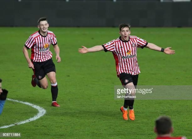 Lynden Gooch of Sunderland celebrates after he scores the second Sunderland goal during the Premier League International Cup match between Sunderland...
