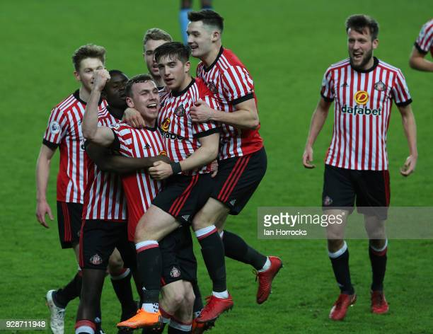 Lynden Gooch of Sunderland celebrates after he scores the second Sunderland goal during the Premier League International Cup match between Sunderland...