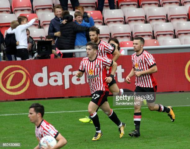 Lynden Gooch of Sunderland celebrates after scoring during the Sky Bet Championship match between Sunderland and Cardiff City at Stadium of Light on...