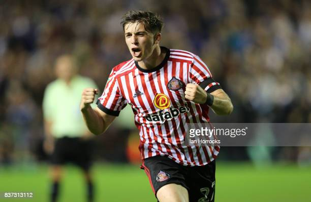 Lynden Gooch of Sunderland celebrates scoring the second Sunderland goal during the Carabao Cup 2nd round match between Carlisle United and...