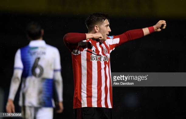 Lynden Gooch of Sunderland celebrates victory during the Checkatrade Trophy Semi Final match between Bristol Rovers and Sunderland at Memorial...