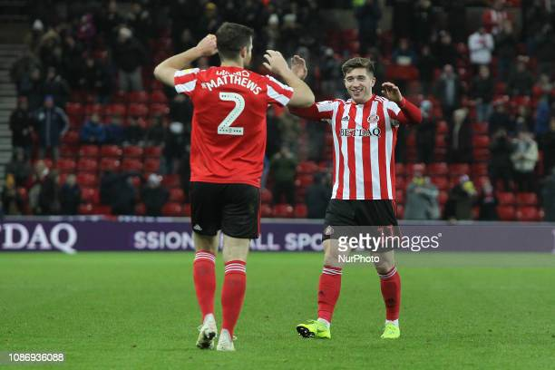 . Lynden Gooch of Sunderland celebrates with Adam Matthews after scoring their second goal during the Checkatrade Trophy Quarter Final match between...
